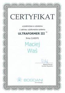 Maciej Waś Certyfikat
